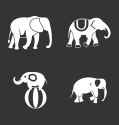 Elephant icon set grey vector