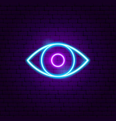 Eye neon sign vector