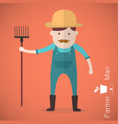 farmer man with hay fork on orange background vector image