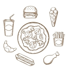 Fast food in sketch style vector