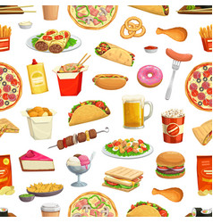 fast food pattern seamless background hamburgers vector image