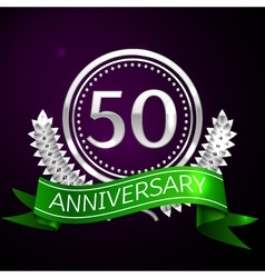 Fifty years anniversary celebration with silver vector image