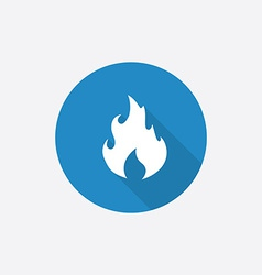 fire Flat Blue Simple Icon with long shadow vector image vector image