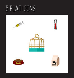 Flat icon pets set of temperature measurement vector