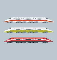 Flat modern high-speed trains collection vector