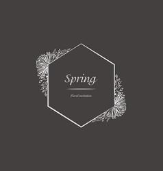 floral spring invitation frame floral design vector image