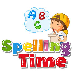 font design for word spelling time with boy vector image