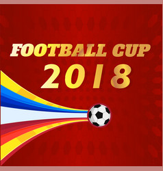 football cup 2018 flying soccer ball red backgroun vector image
