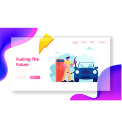 Gasoline service for drivers website landing page vector