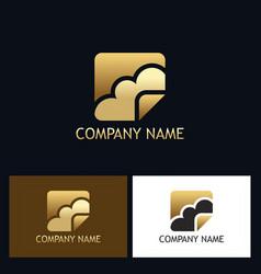 Gold cloud technology logo vector