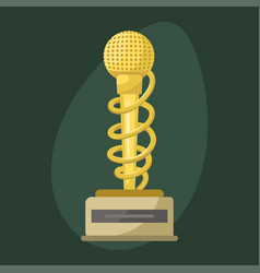 Gold rock star trophy music microphone best vector