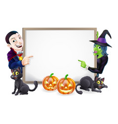 Halloween dracula and witch sign vector