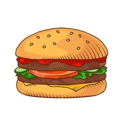 Hand drawn hamburger background vector