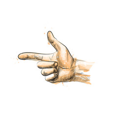 hand gesture finger gun from a splash of vector image