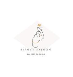 Hand line logo gesture vector