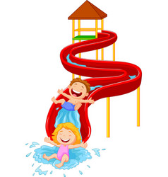 happy children on water sliding vector image