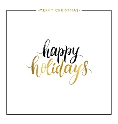 Happy holidays gold text isolated vector