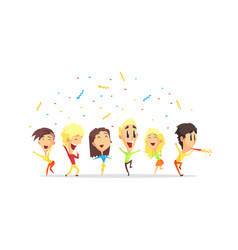 happy people having fun and jumping young men and vector image