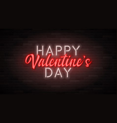 happy valentine s day neon banner template vector image
