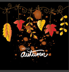 hello autumn hand lettering greeting card vector image