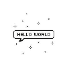 Hello world in speech bubble 8 bit pixel art vector