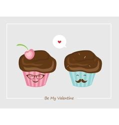 Hipster retro muffins happy Valentines vector