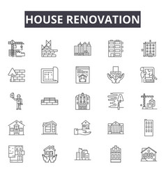 House renovation company line icons signs vector
