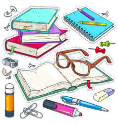 Icons colored stationery for school and vector