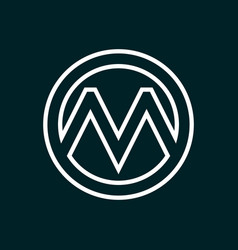 Initial letter m logo template with circle line vector