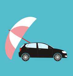 insurance concept - flat style car protected vector image