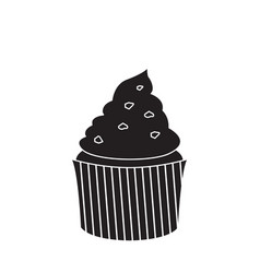 isolated cupcake silhouette vector image