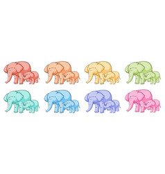 isolated set elephants in different colors vector image
