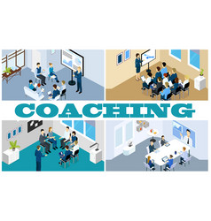 isometric coaching and training composition vector image