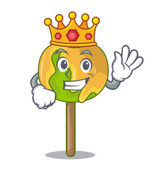 King candy apple mascot cartoon vector