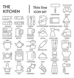 kitchen thin line icon set cooking symbols vector image