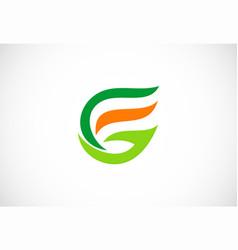 letter g organic green leaf logo vector image