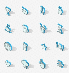 Light isometric flat design icon set vector image
