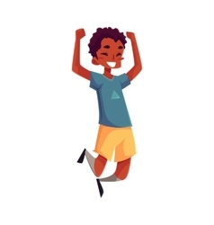 Little black boy jumping from happines vector