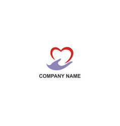 love hand care company logo vector image