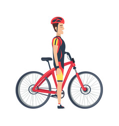 male stand near bike isolated vector image