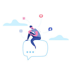 Man character chatting on phone in social media vector