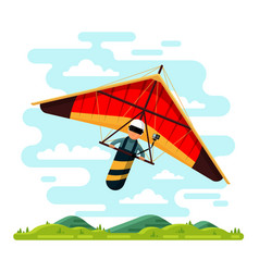 Man flying hang glider flat vector