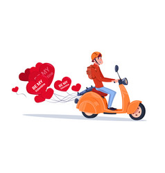 Man riding retro motor bike with heart shaped air vector