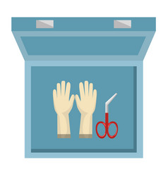 Medical kit with surgical gloves vector