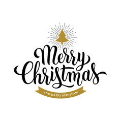 Merry christmas calligraphy on white background vector
