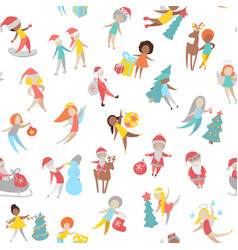 merry christmas people icons vector image