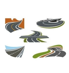 Modern highways roads and freeways icons vector