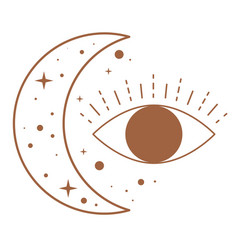 mystic and magical symbols moon and eye vector image