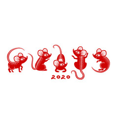 new year 2020 rat chinese zodiac rats asian red vector image