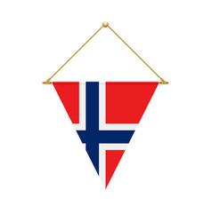 Norwegian triangle flag hanging vector